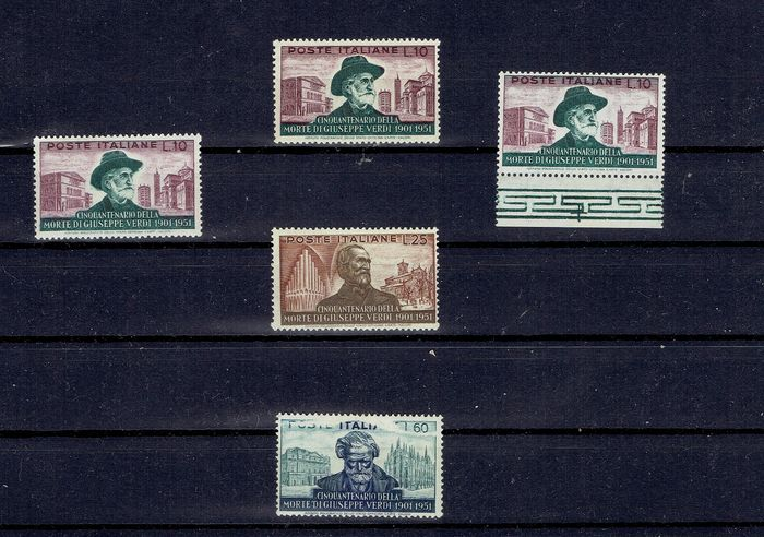 Italien Republik 1951 - Giuseppe Verdi set with print and perforation variety - Sassone Specializzato 171Aa-168Af-169Aa-173Ab Serie C168-172-173