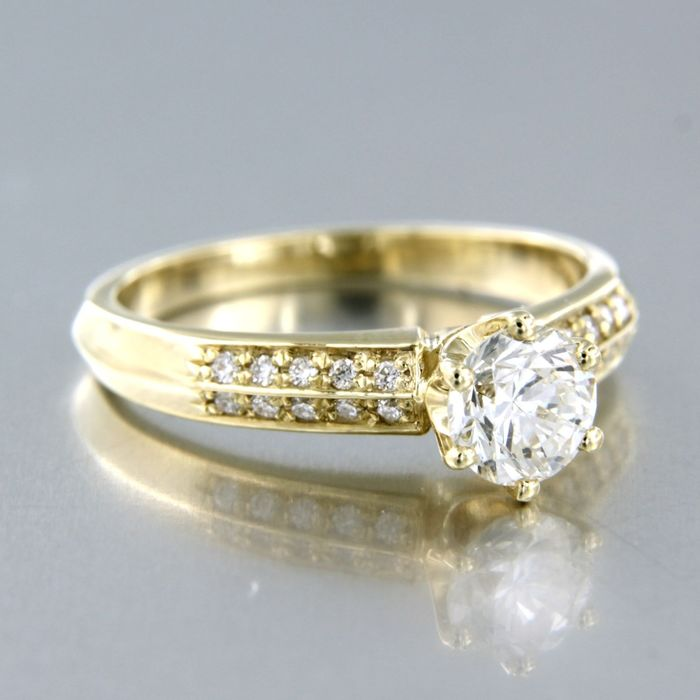 14 kt Gelbgold - Ring - 0,91 ct Diamant