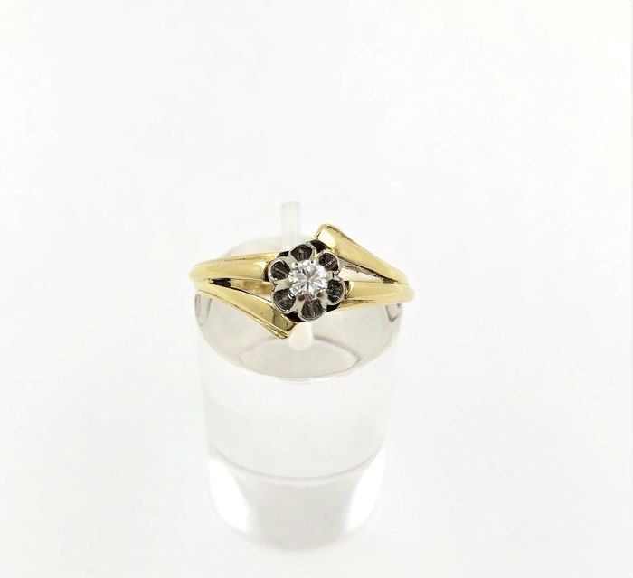 14 kt. White gold, Yellow gold - Ring - 0.10 ct Diamond