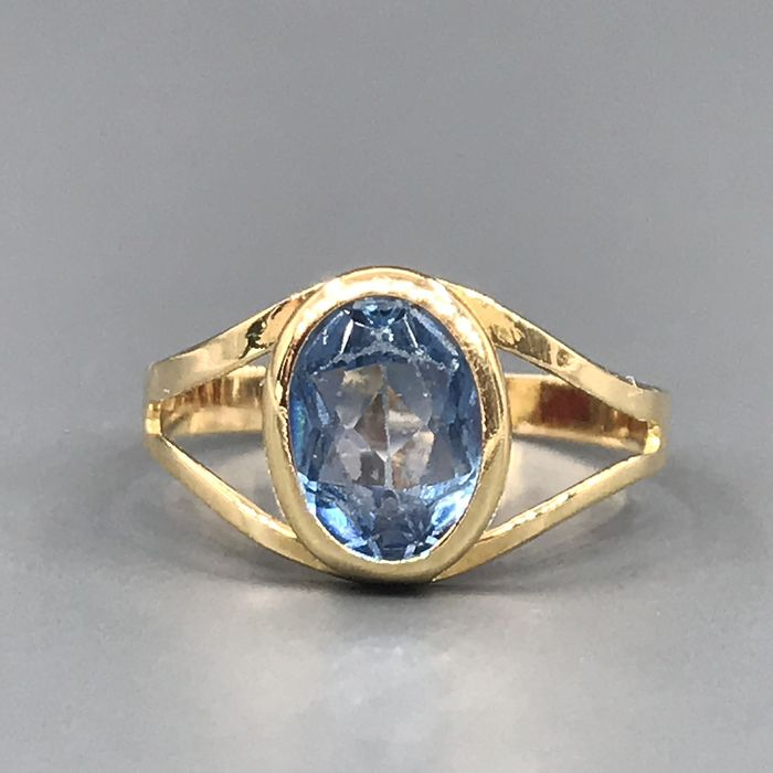 18 kt. Yellow gold - Ring - 1,50 ct Topaz