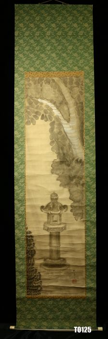 Hanging scroll - Paper, Silk, Wood - Stone lantern - With signature and seal 'Insho' 印象 - Japan - ca. 1920-40 (Taisho to Showa period)