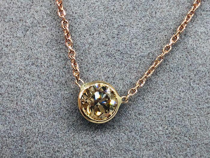 14 kt. Yellow gold, Rosé gold - Necklace with pendant - 0.46 ct Diamond - Solitaire - VVS2 - Untreated