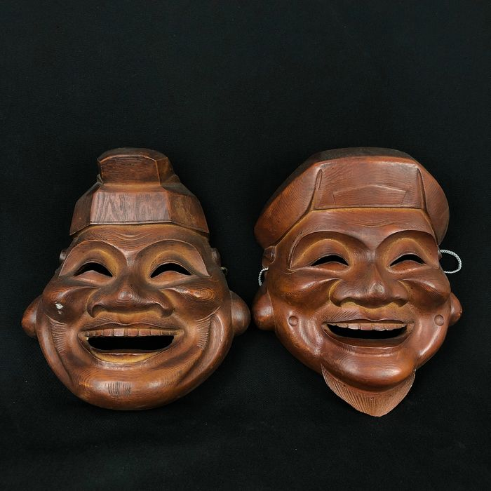 Noh mask (2) - Wood - Ebisu 恵比寿 and Daikoku 大黒 of the Seven Gods of Good Fortune - Japan - mid 20th century
