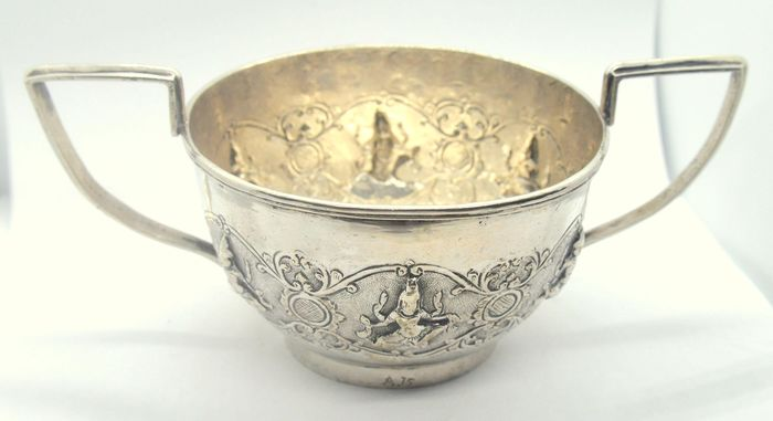 """Bowl with """"Asian Monk"""" design (1) - Silver - India - Early 20th century"""