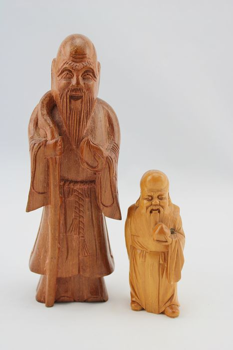 Sculptures, Shou- Lao God of longevity - Wood - China - Second half 20th century