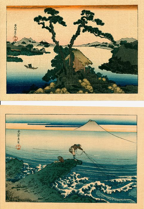 Woodblock print (reprint) (2) - Katsushika Hokusai (1760-1849) - 'Lake Suwa in Shinano Province' and 'The Lone Fisherman at Kajikazawa' - 1938