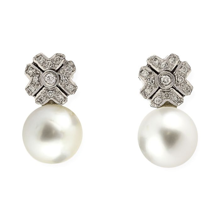 18 kt. South sea pearls, White gold, 11 mm - Earrings - 0.45 ct Diamond