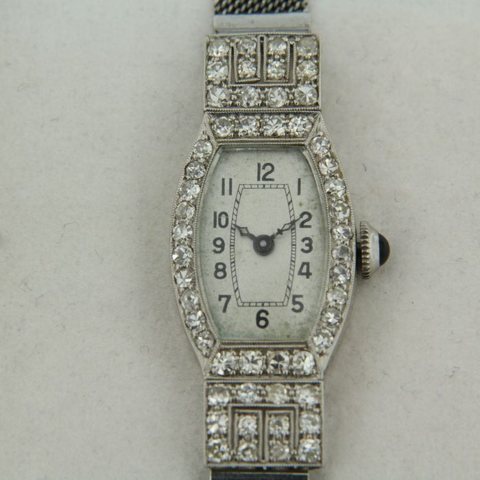 Recta Swiss - 950 pt en 18k witgoud Platinum, White gold - watch - 0.80 ct Diamond - Sapphire