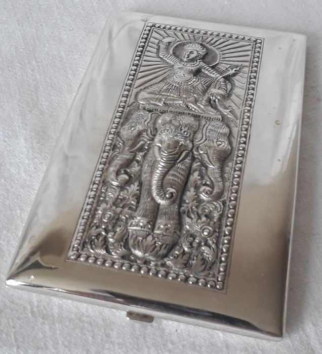 Cigarette Case Depicting Elephant - .900 silver - Cambodia - mid 20th century