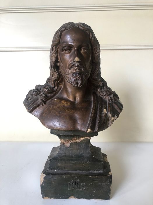 Christ bust - Painted terracotta - First half 19th century