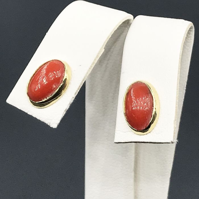 Yellow gold (18 kt) - Coral earrings