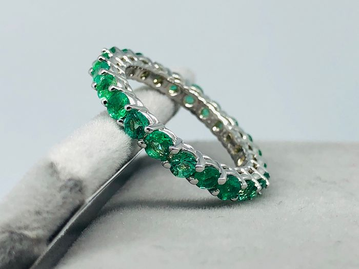 14 kt. White gold - Ring - 2.51 ct Emerald