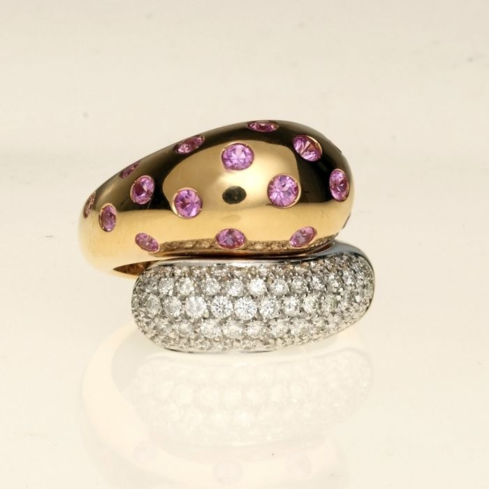 Leo Pizzo - 18 kt. Pink gold - Ring - 0.86 ct Diamond - Sapphires