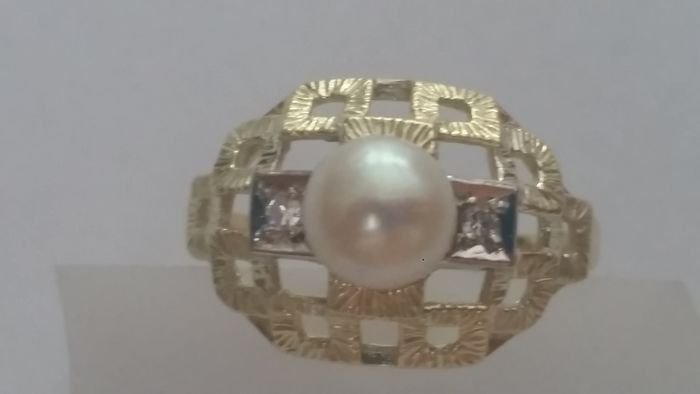 14 kt Gold - Ring - 2.00 ct Pearl - Diamonds