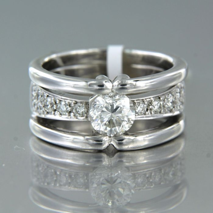 18 kt. White gold - Ring - 1.41 ct Diamond