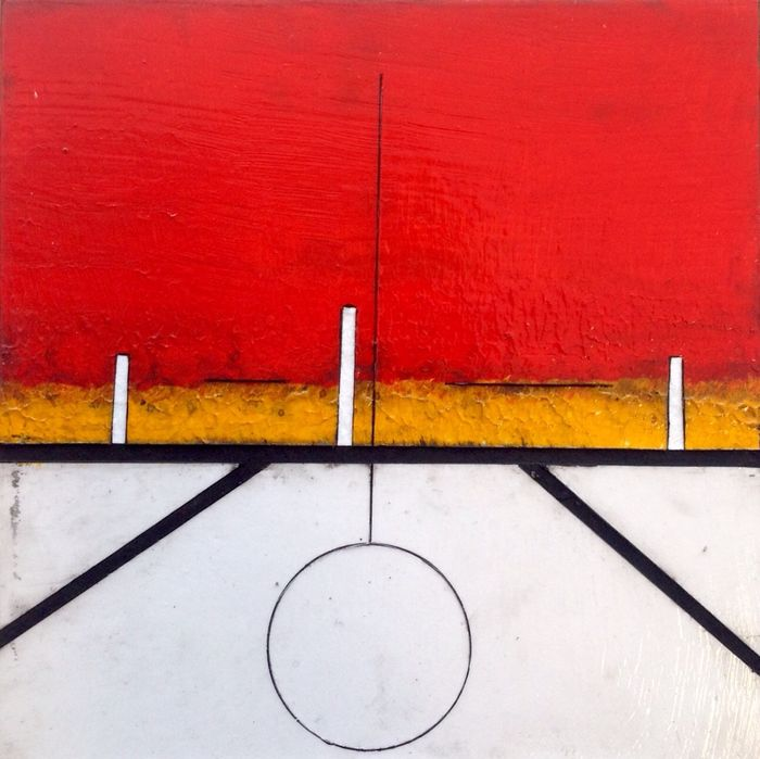Paulus Noomen - Somewhere/composition in red, ocre
