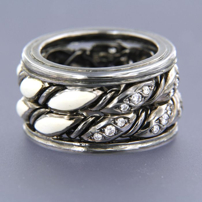 maria grazia cassetti - 18 kt. Gold, black rhodium - Ring, Enamel - 0.32 ct Diamond