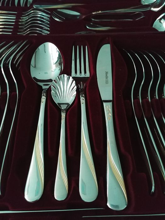 Nivella Solingen - New 12-person cutlery in luxury suitcase (72) - Stainless steel details 24 carat gold-plated