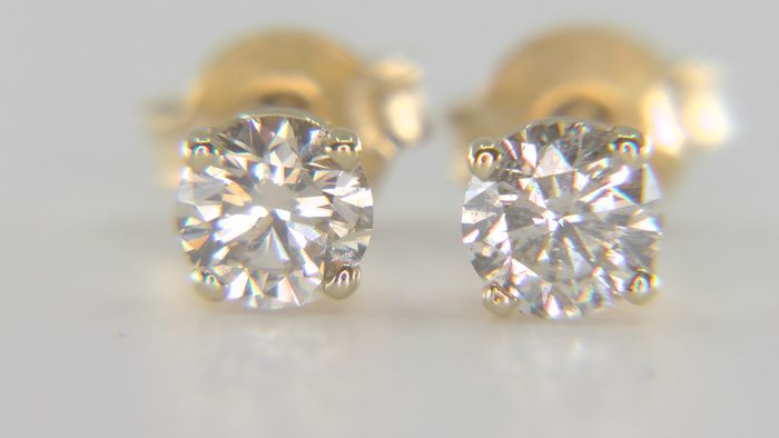 No Reserve Price!  - 14 kt. Yellow gold - Earrings - Clarity enhanced 0.62 ct Diamond - VS1-SI2