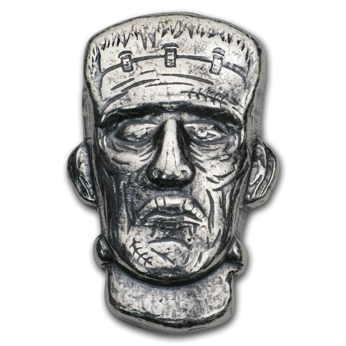 1,5 oz - Silver .999 - USA Monarch Precious Metals - Frankenstein - Antique Finish  - Seal
