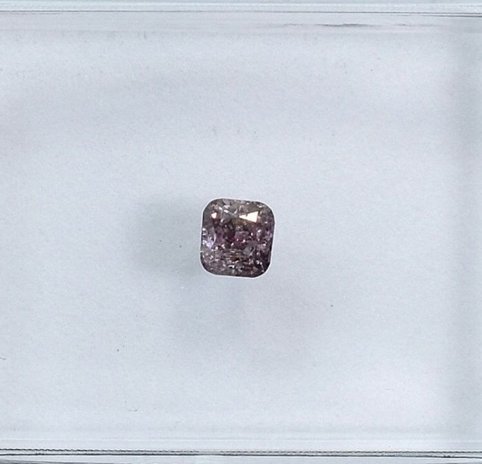 1 pcs Diamant - 0.14 ct - Coussin - fancy brownish pink - I2