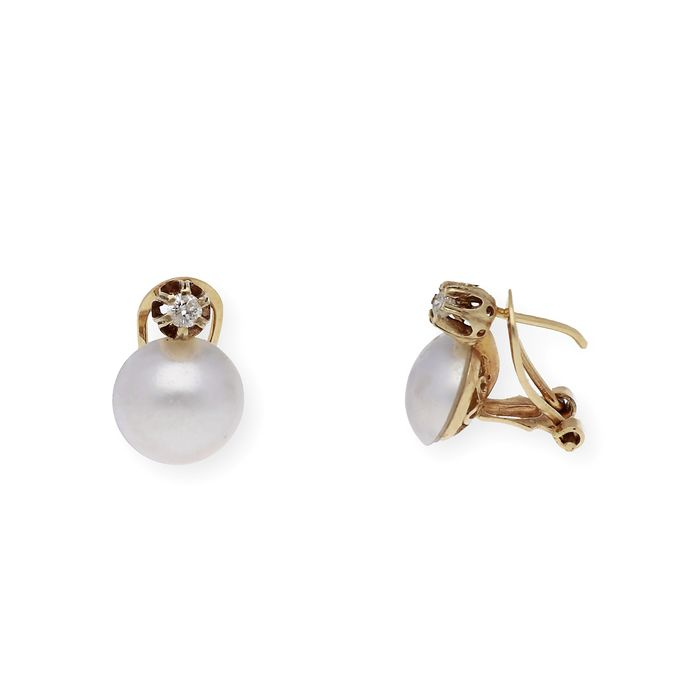 18 kt. Gold, Mabe pearl, Yellow gold - Earrings - 0.20 ct Diamond - Pearls