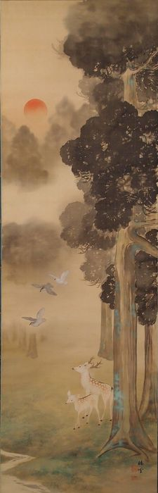 Hanging scroll - Silk - Deer, Landscape - Deer and fawn by a stream - With signature 'Chinjo' 椿城 - Japan - ca. 1940-50s (Early Showa)