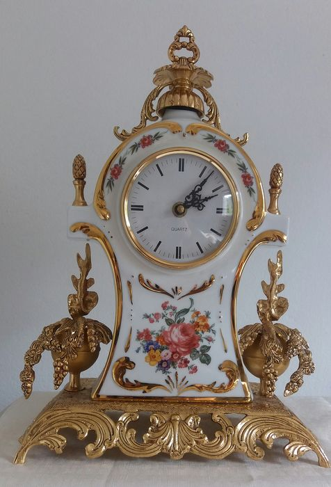 Rompor - Tabletop clock - Bronze (gilt/silvered/patinated/cold painted), Porcelain
