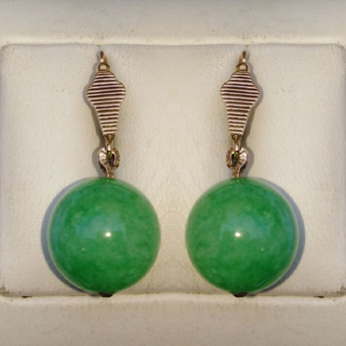 Gold - Earrings - 22.00 ct Jade-Jadeite  - Ruby