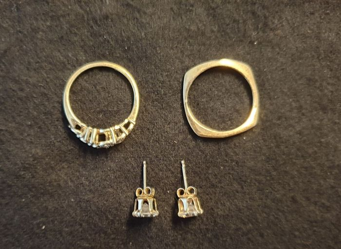 14 kt Gold - Earrings, Ring, ring 2