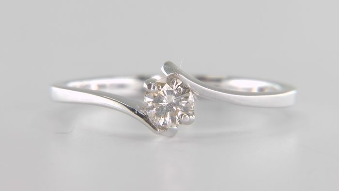 No Reserve Price! - 14 kt. White gold - Ring - Clarity enhanced 0.25 ct Diamond - SI1!