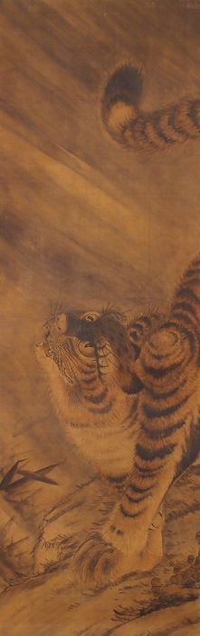 Hanging scroll - Silk - Tiger - Japan - Late 19th century
