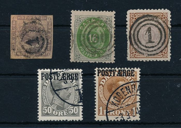 Dinamarca 1851/1863 - Classical-period lot with many better values, including - Michel Nr. 16, 20/21 und Postfähre