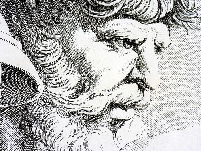 2  folio engravings by Charles-Nicolas Cochin (1715–1790) After Raphael - Head Studies - Old Men - 1755
