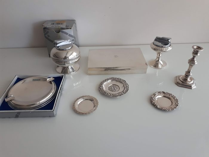 Set of lighters, purra and ashtrays - silversmith brands - Silver - Spain - Late 20th century