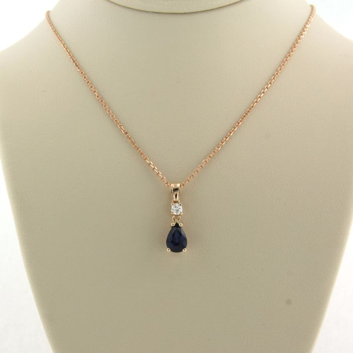 14 kt. Pink gold - Necklace with pendant - 0.05 ct Diamond - Sapphire