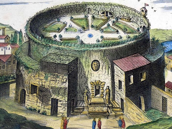 Giacomo Lauro (1550- –1605) Hand coloured folio engraving - Mausoleum of Augustus - Campus Martius - Rome, Italy - 1624