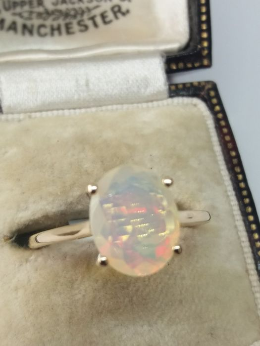 375 Yellow gold - Full Natural African Water Opal dress ring - 1.48 ct