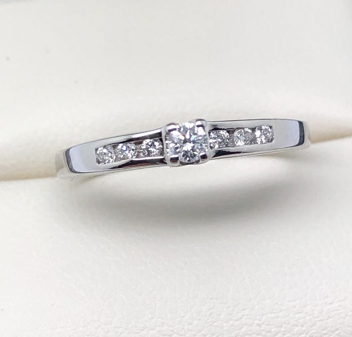 18 kt. White gold - Ring diamonds