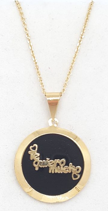 18 kt. Yellow gold - Necklace, Pendant onyx