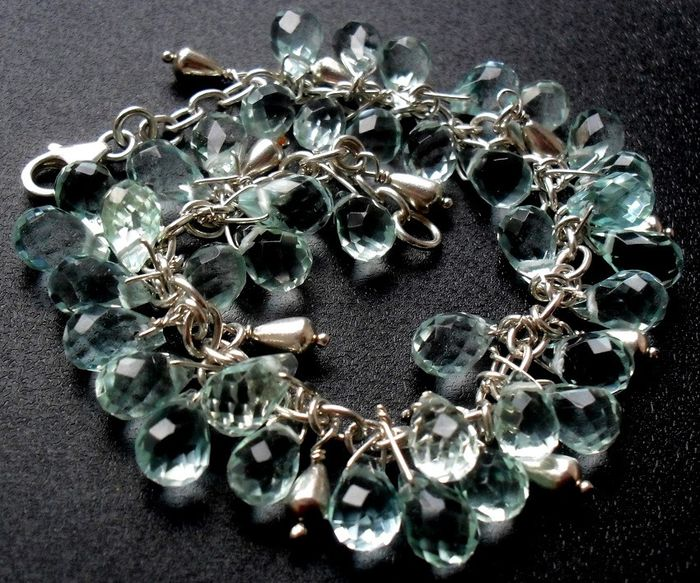 Noble faceted synth. Aquamarine briolette-drop 925 silver - Bracelet