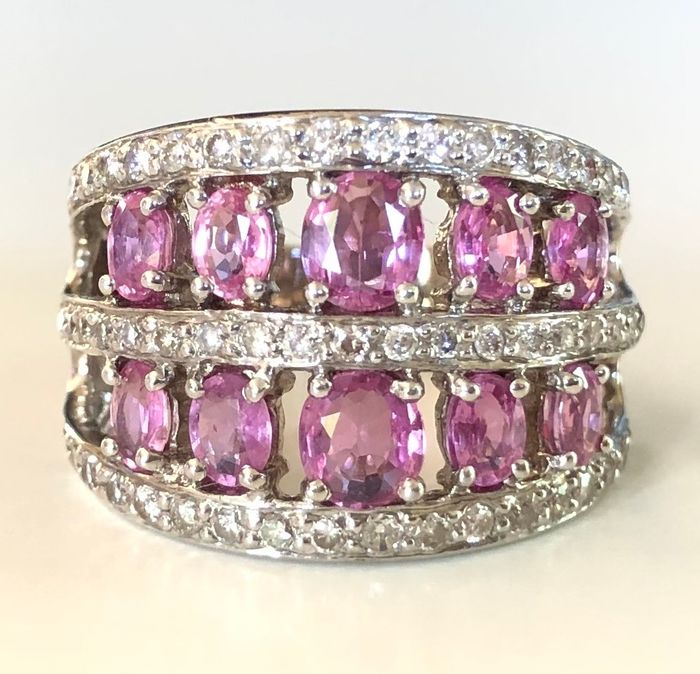 18 kt. White gold - Ring - 1.20 ct Pink sapphires - 0.95 ct Diamonds