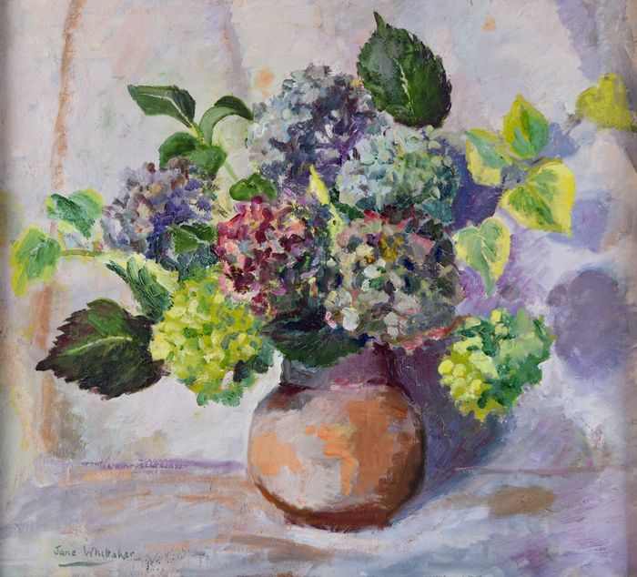 Jane Whittaker (20th century) - Still life of a vase of chrysanthemums