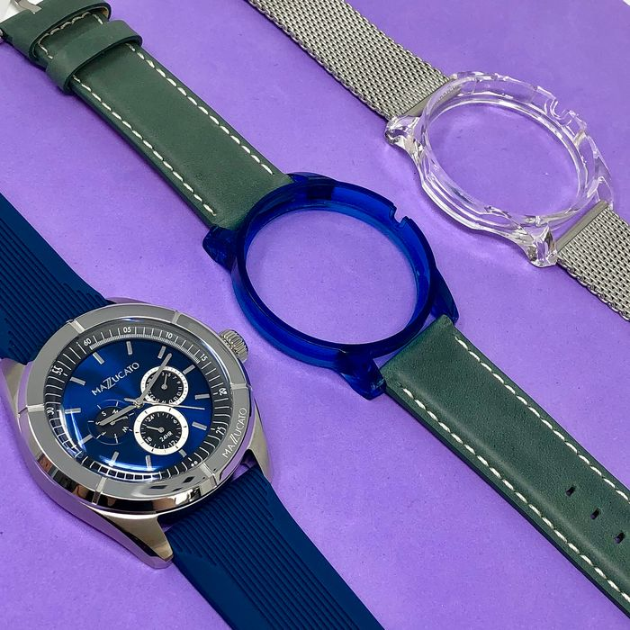 """Mazzucato - Ego Super Ego Blue Calendar Customisable with Three Straps and Three Cases - E.G.O.002BLUE """"NO RESERVE PRICE"""" - Miehet - Brand New"""