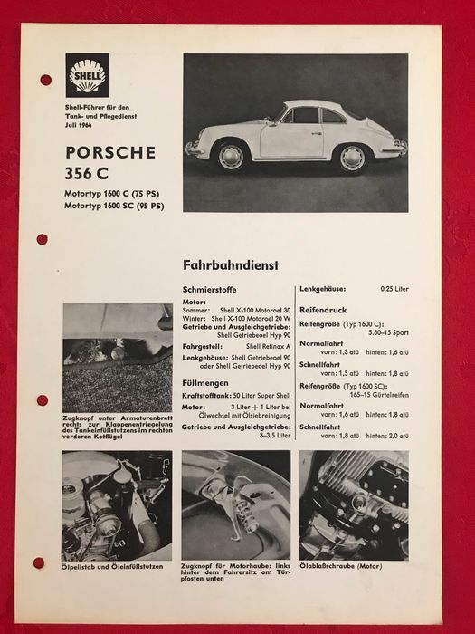 Brochures / Catalogues - Porsche - Porsche 356 C 1600 SC greasing card filling station assistant Shell - ‎1964-‎1965