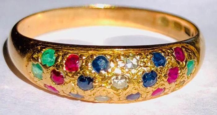14 kt. Gold - Ring Diamond - Emeralds, Rubys, Sapphires