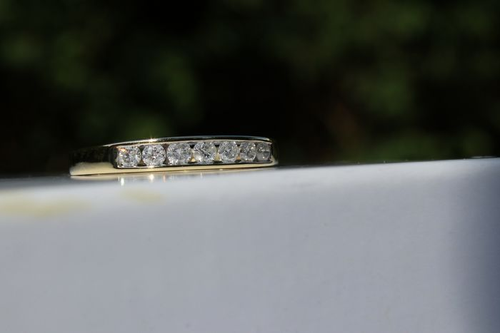 18 kt. Yellow Gold -Size M  - Ring - 7 Diamonds Ring  -0.25ct