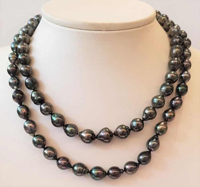 NO RESERVE PRICE - 925 Silver - 8x12mm Peacock Tahitian Pearls - Necklace