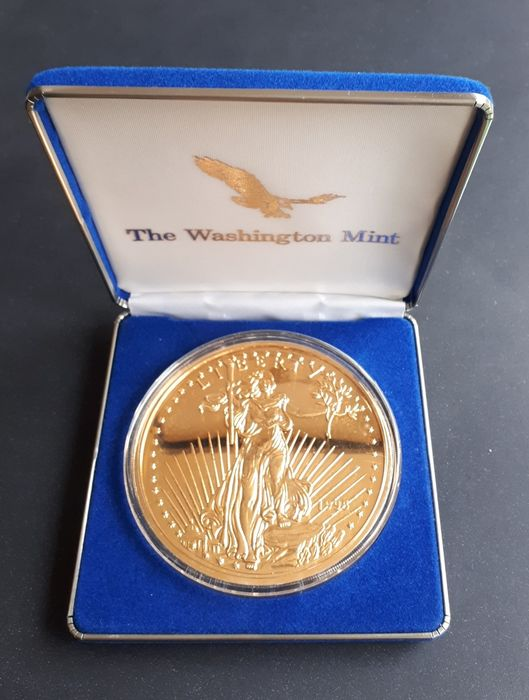 美國 - Medal - half pound Eagle 1995 - gold plated - 8 Oz - 銀