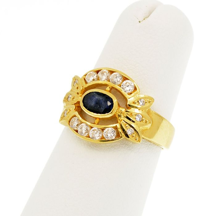 18 kt. Yellow gold - Ring Sapphire - Sapphires